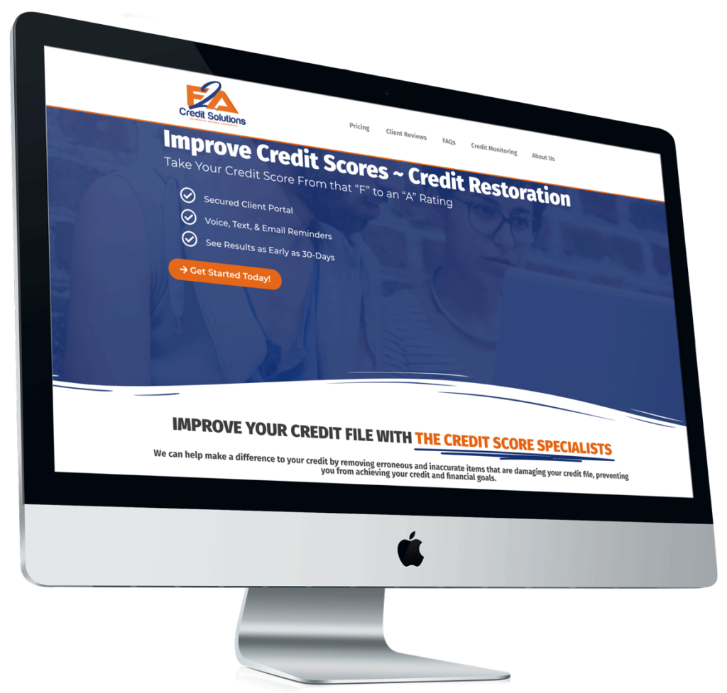 Apple iMac showing F2A Credit Solutions Credit Improvement Solutions Page